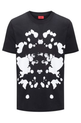 Oversized-fit T-shirt van katoen met print, Zwart