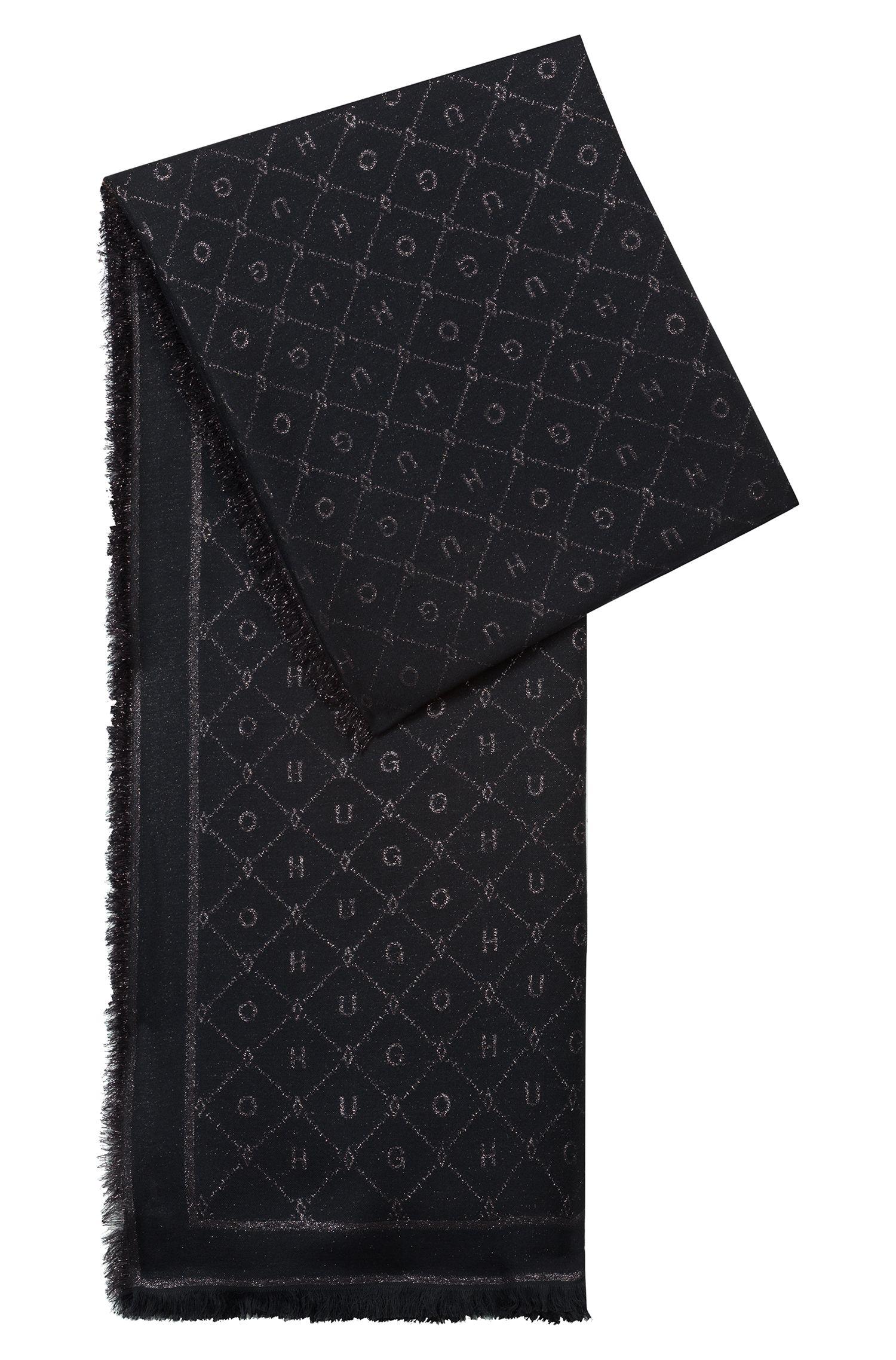 Modal-blend jacquard scarf with logo detail, Black