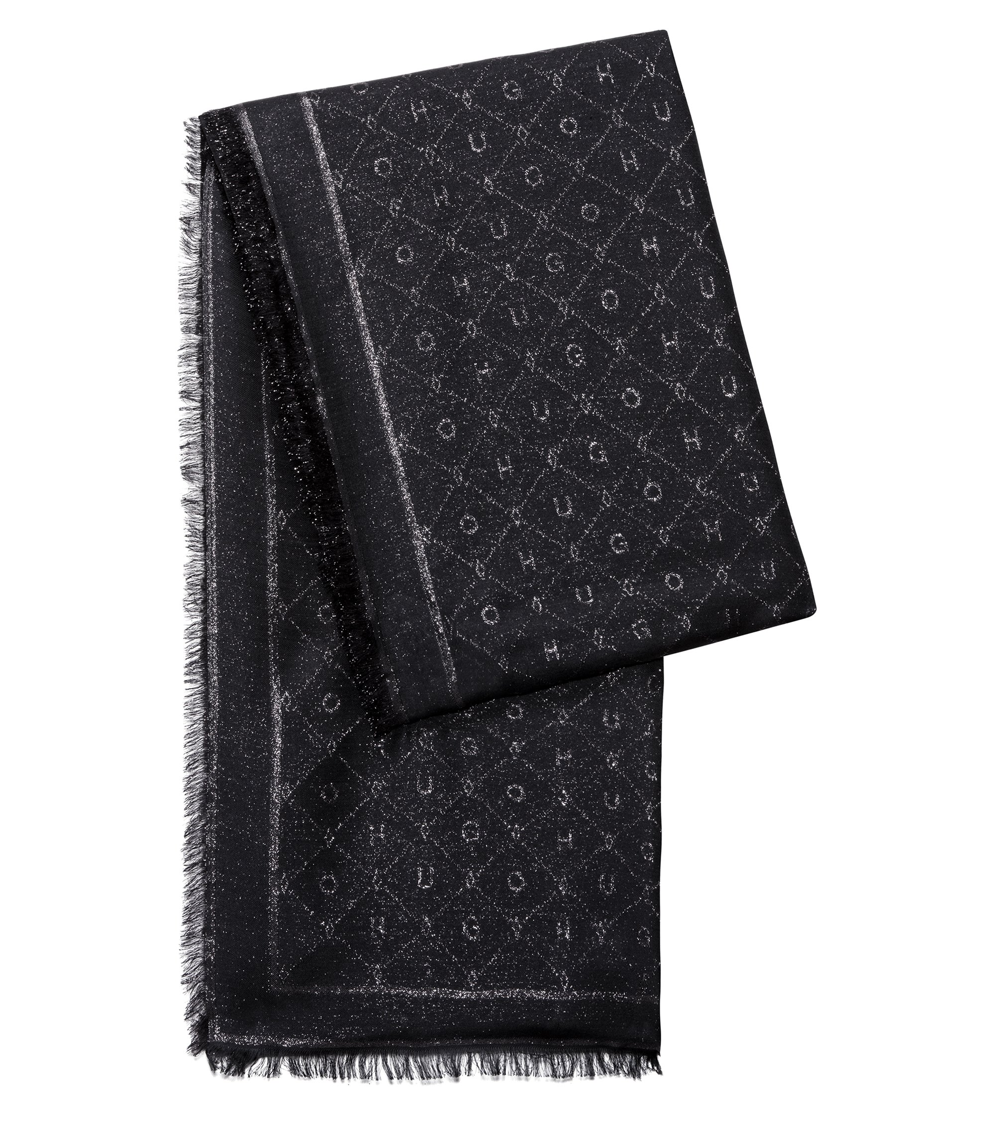Modal-blend jacquard scarf with logo detail, Black
