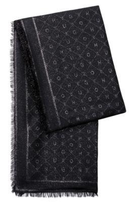 Écharpe en jacquard de modal mélangé ornée du logo, Noir