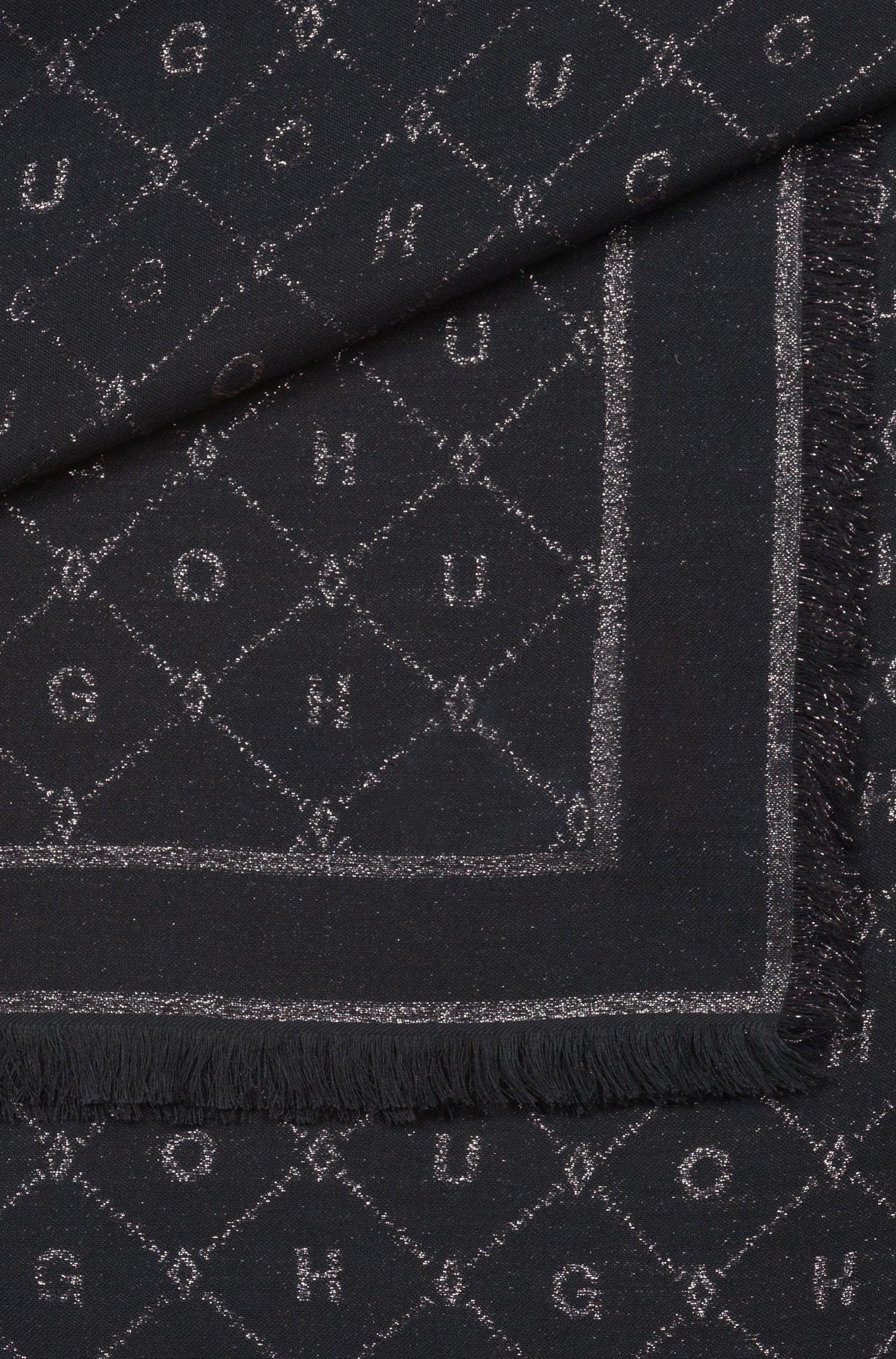 Jacquard-Schal aus Modal-Mix mit Wolle mit Logo-Detail, Schwarz
