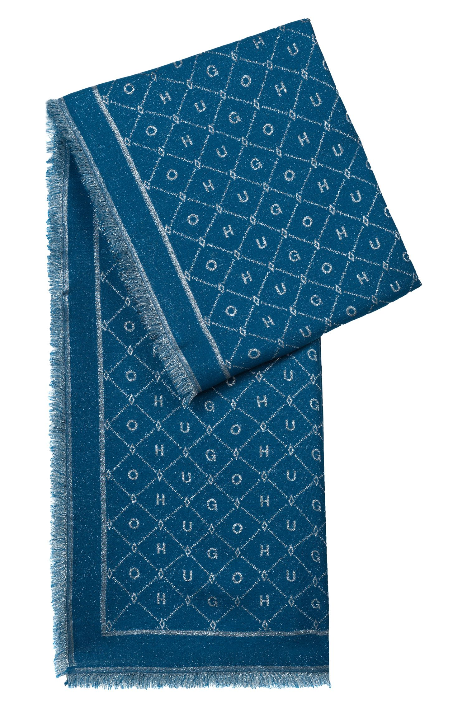 Modal-blend jacquard scarf with logo detail, Open Blue
