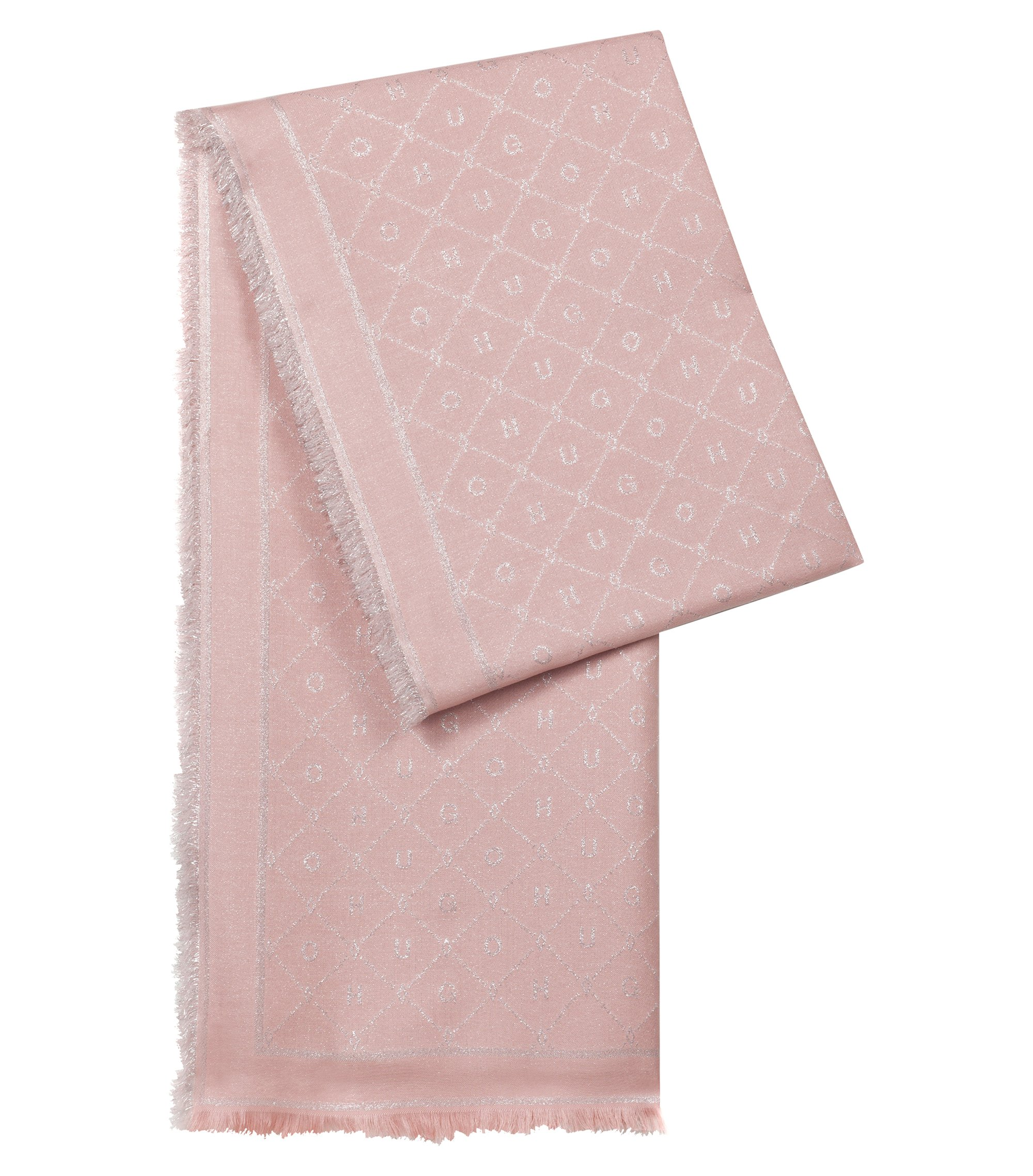 Modal-blend jacquard scarf with logo detail, Open Pink