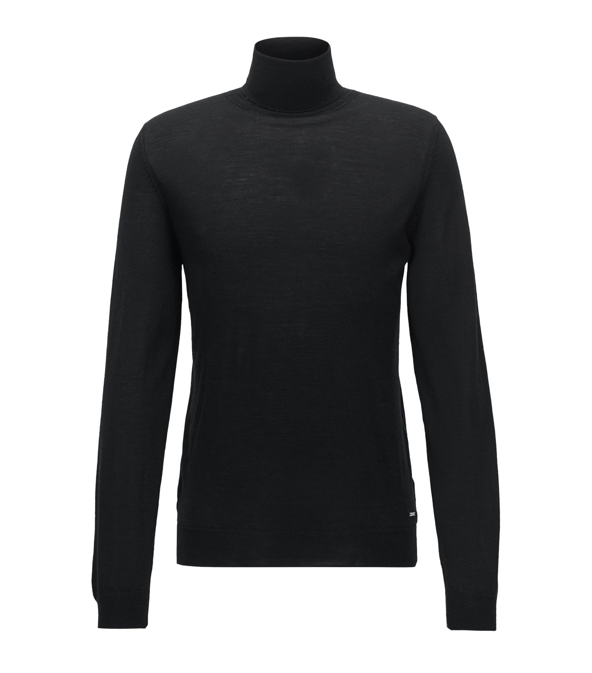 Turtle-neck sweater in a virgin wool blend, Black