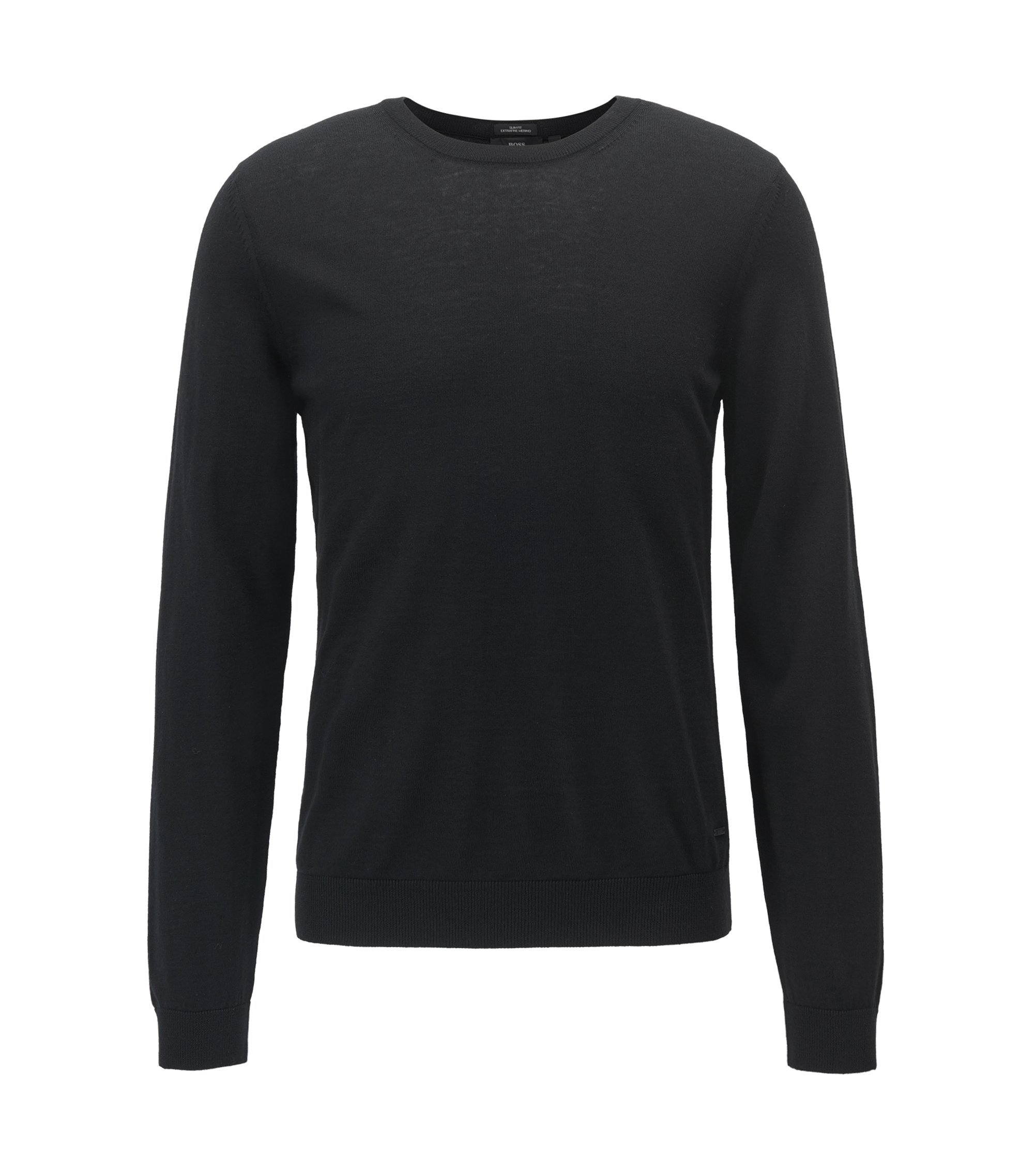 Jersey de cuello redondo en lana virgen, Negro