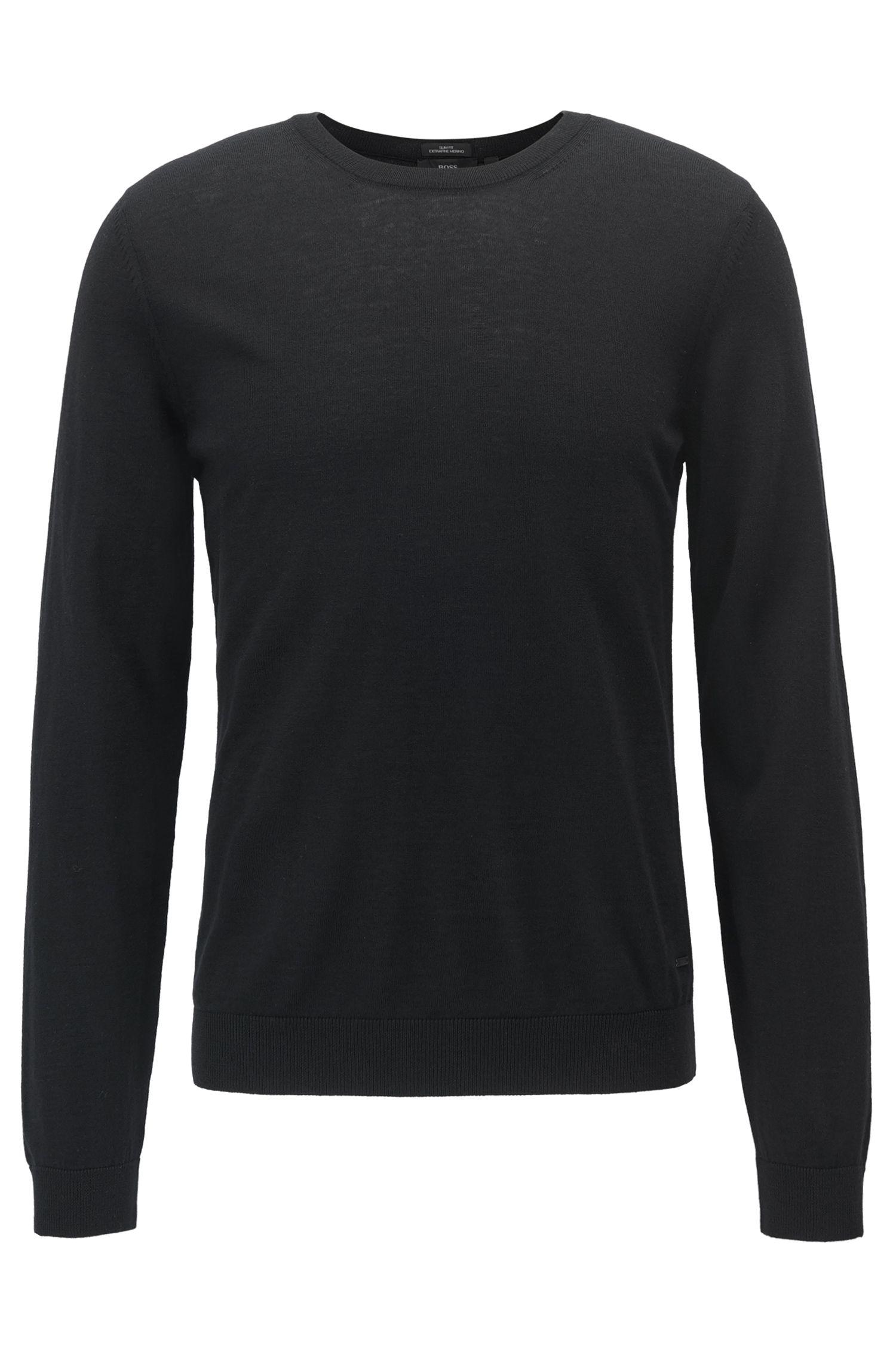 Jersey de cuello redondo en lana virgen