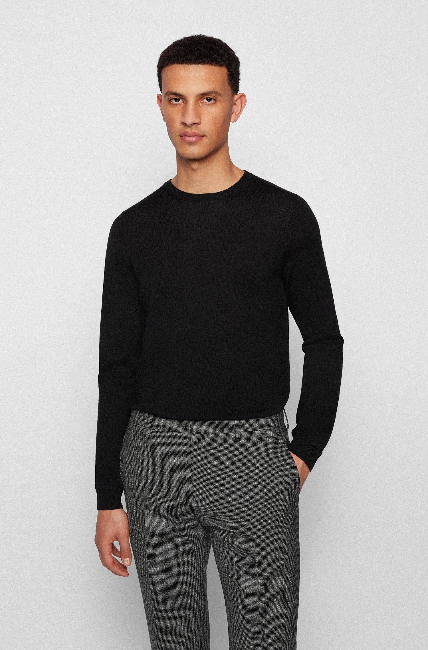 Crew-neck sweater in virgin wool, Black