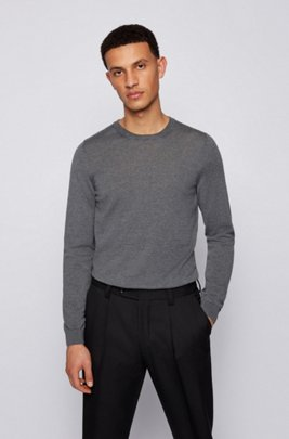Crew-neck sweater in virgin wool, Grey