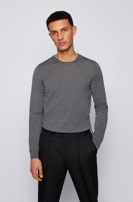Pullover aus Schurwolle mit Rundhalsausschnitt, Grau