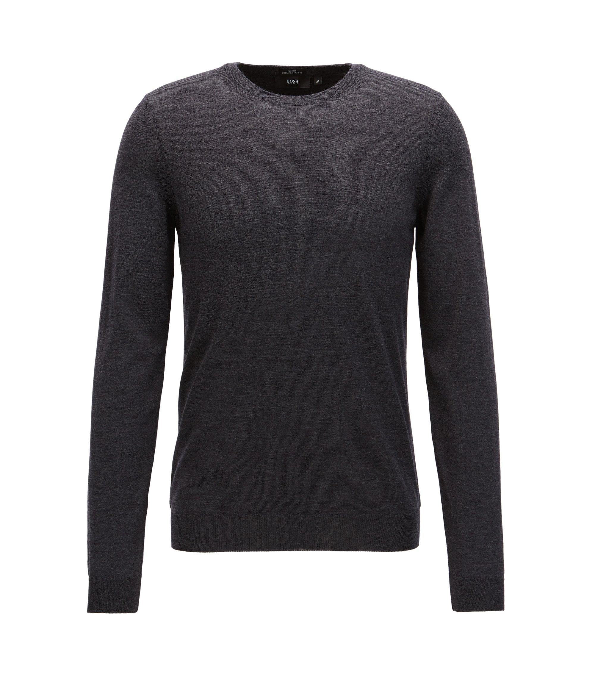 Jersey de cuello redondo en lana virgen, Gris oscuro