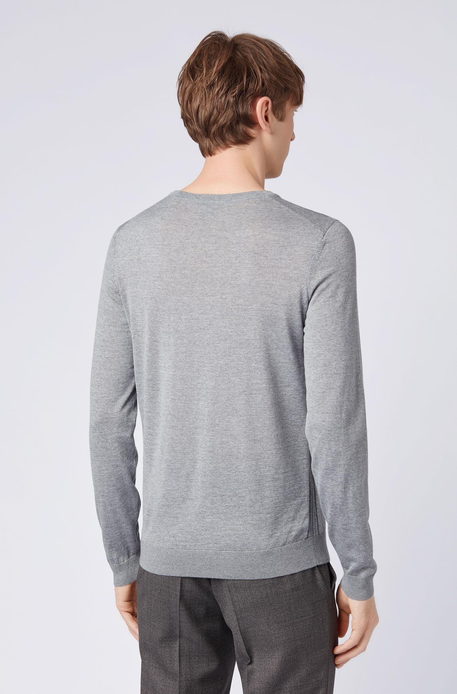 Crew-neck sweater in virgin wool, Grey