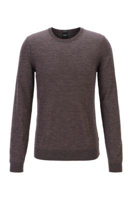 Pullover aus Schurwolle mit Rundhalsausschnitt, Dunkelbraun