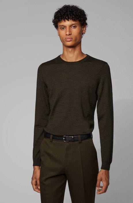 Pullover aus Schurwolle mit Rundhalsausschnitt, Khaki