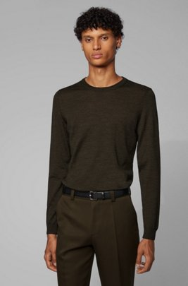 Crew-neck sweater in virgin wool, Khaki
