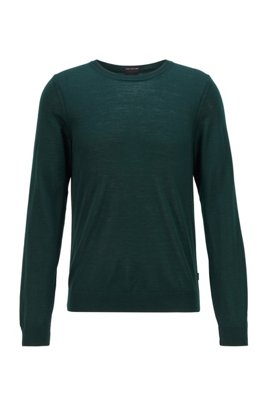 Crew-neck sweater in virgin wool, Light Green