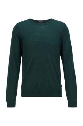 Pullover aus Schurwolle mit Rundhalsausschnitt, Hellgrün