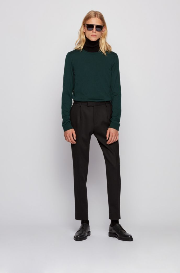 Crew-neck sweater in virgin wool