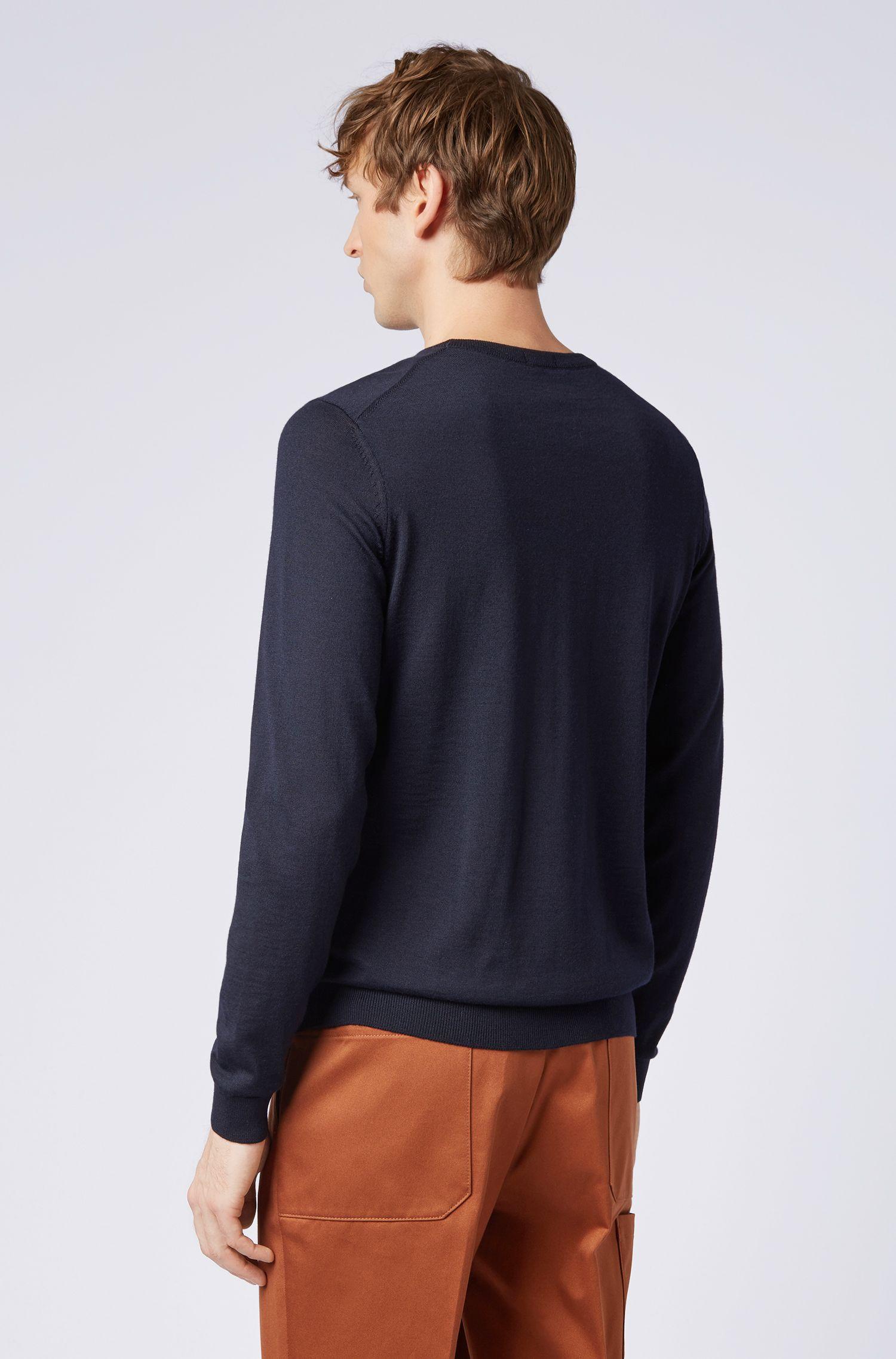 Pullover aus Schurwolle mit Rundhalsausschnitt, Dunkelblau