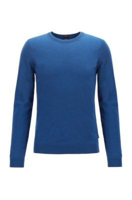 Pull à col rond en laine vierge, Bleu