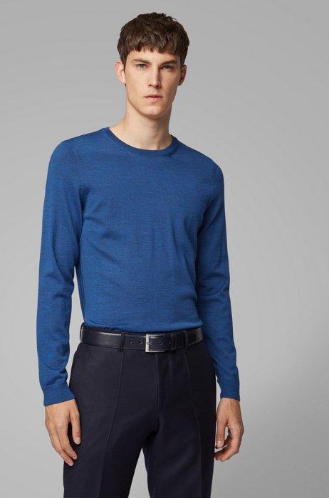 Pullover aus Schurwolle mit Rundhalsausschnitt, Blau