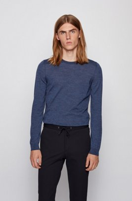 Crew-neck sweater in virgin wool, Dark Blue