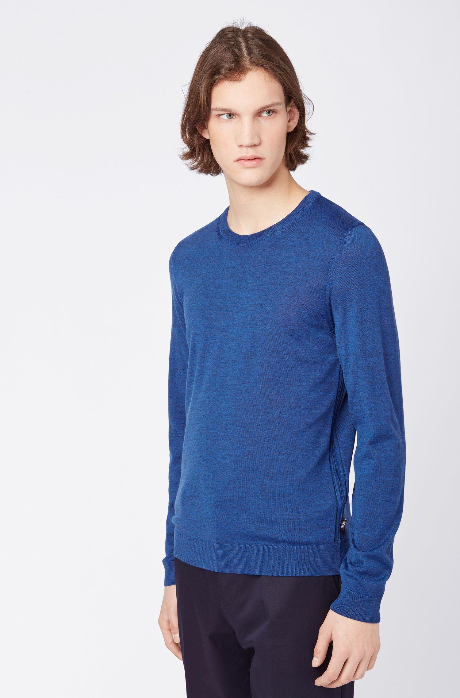 Pull à col ras-du-cou en laine vierge, Bleu foncé