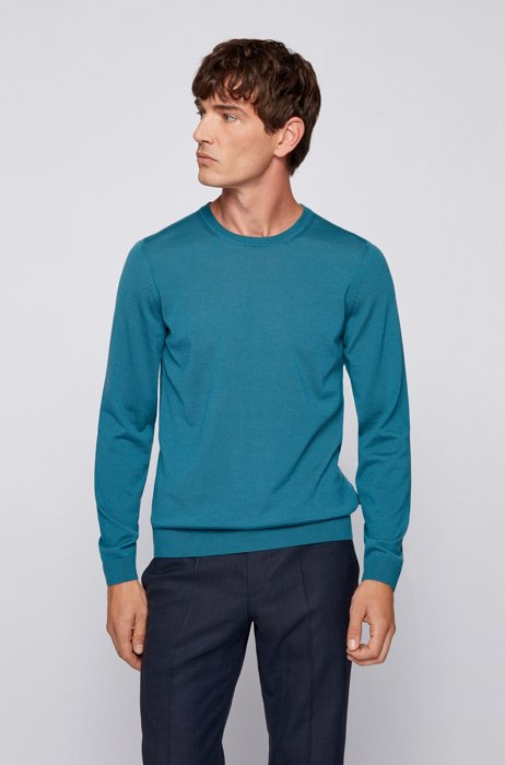 Crew-neck sweater in virgin wool, Blue