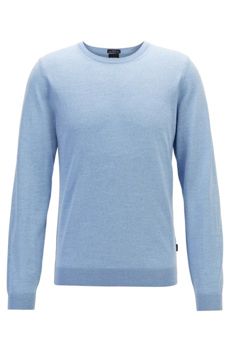 Crew-neck sweater in virgin wool, Light Blue