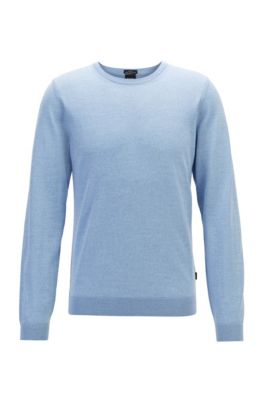 Pull à col rond en laine vierge, bleu clair