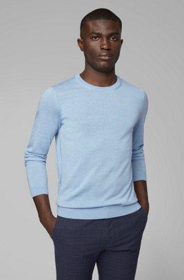 Pullover aus Schurwolle mit Rundhalsausschnitt, Hellblau