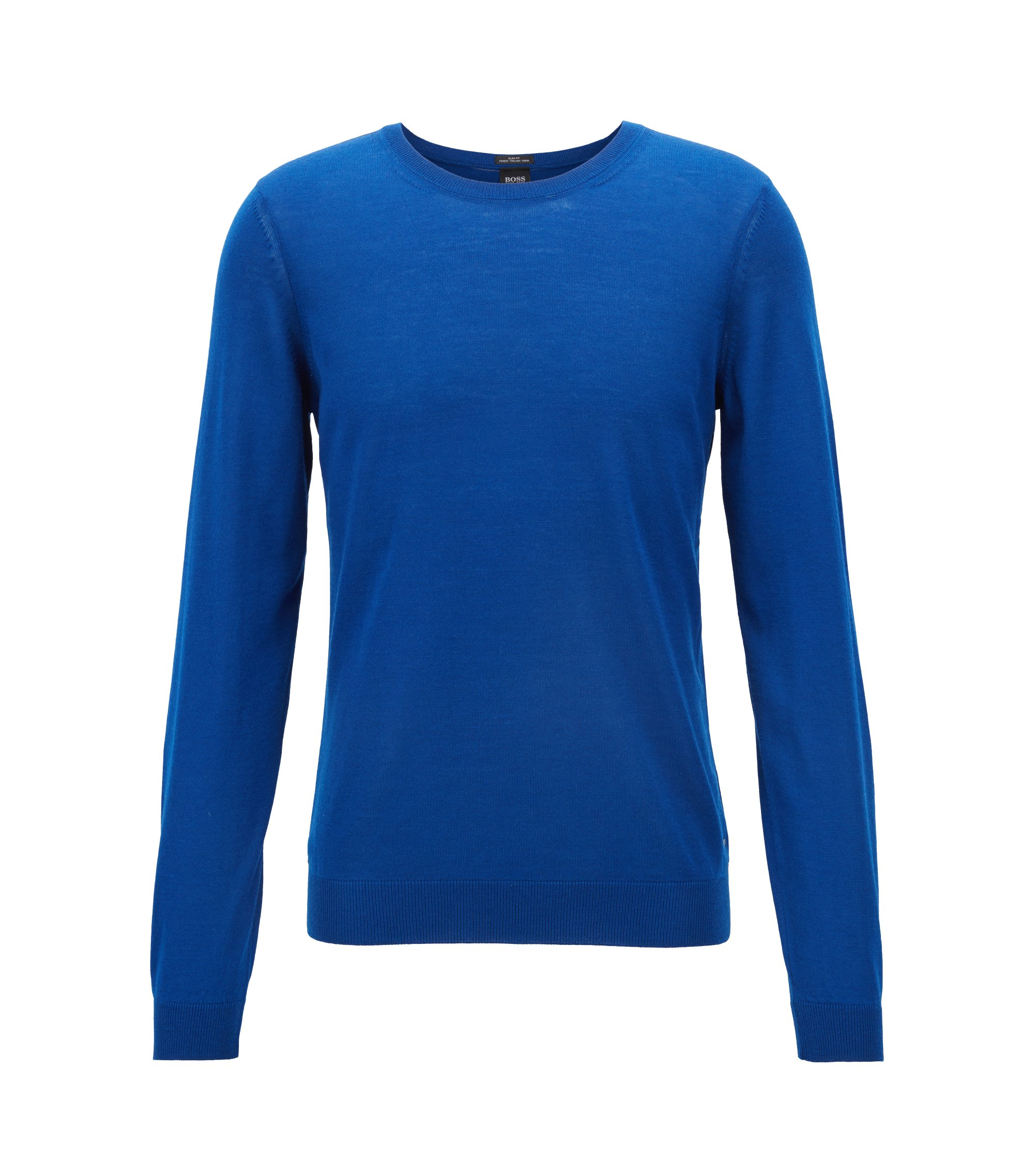 Crew-neck sweater in virgin wool, Blue