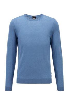 Crew-neck sweater in virgin wool, Light Blue