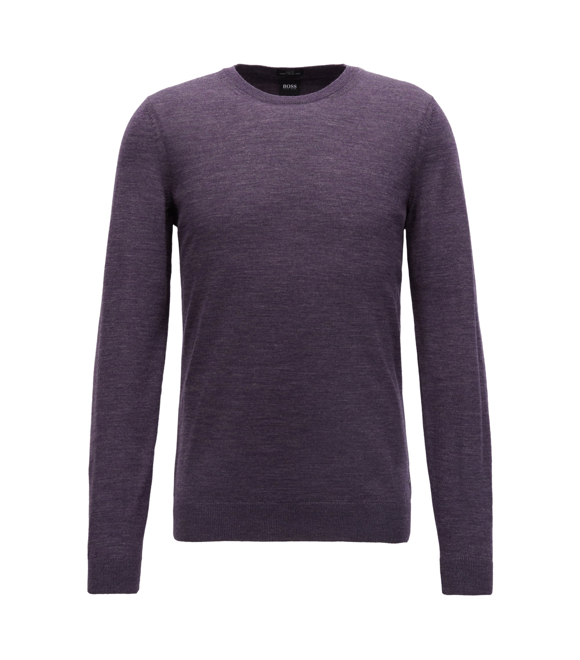 Crew-neck sweater in virgin wool, Dark Purple