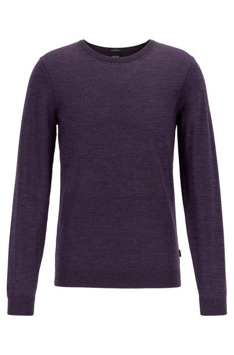 Crew-neck sweater in virgin wool, Dark Purple