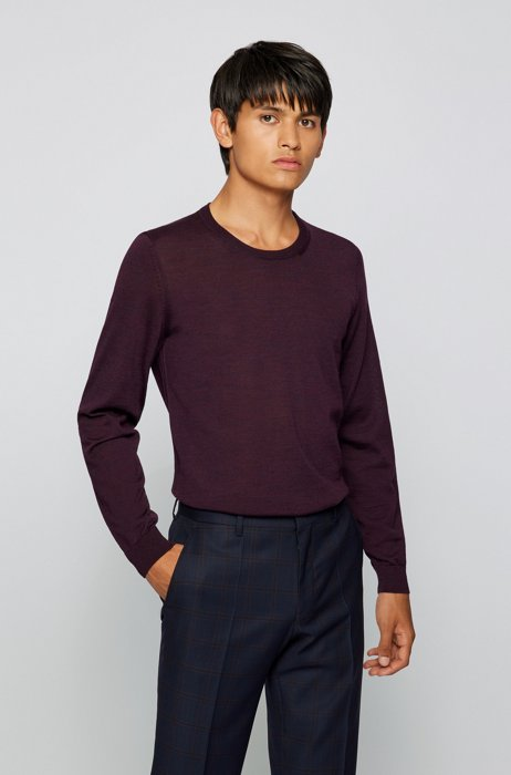 Crew-neck sweater in virgin wool, Purple