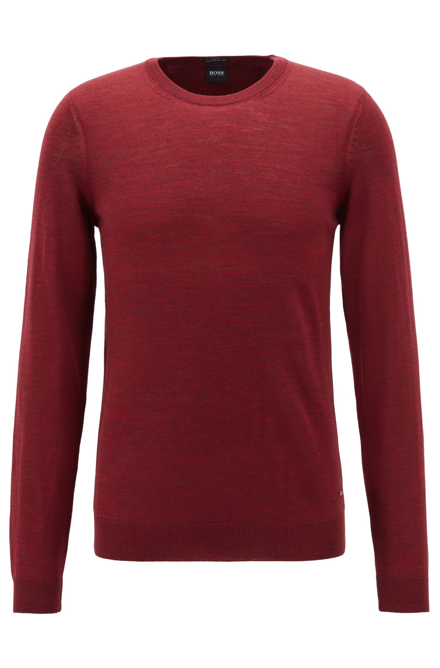 Crew-neck sweater in virgin wool, Dark Red
