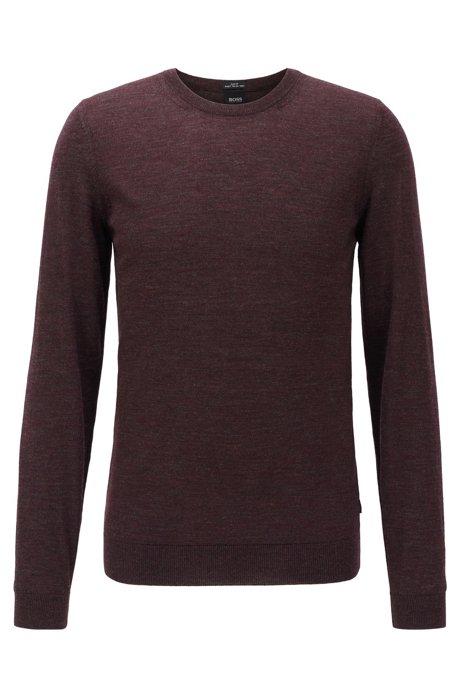 Maglione a girocollo in lana vergine, Rosso scuro