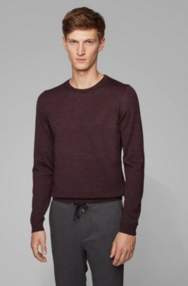 Jersey de cuello redondo de lana virgen, Rojo oscuro