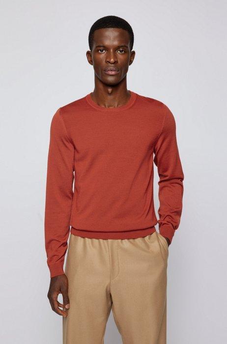 Crew-neck sweater in virgin wool, Red