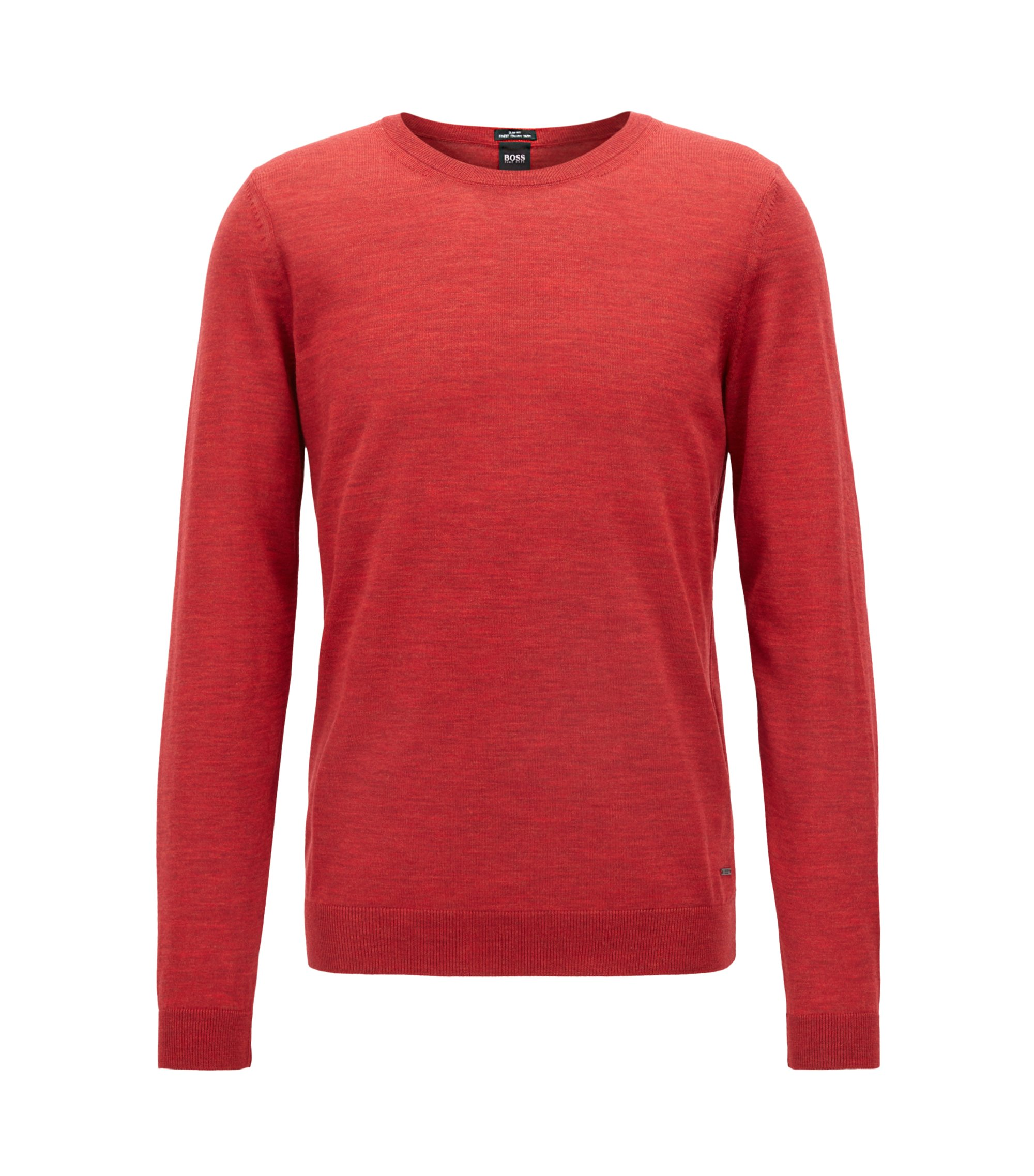Crew-neck sweater in virgin wool, Red
