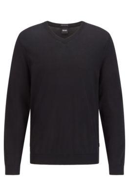 V-neck sweater in mulesing-free wool, Black