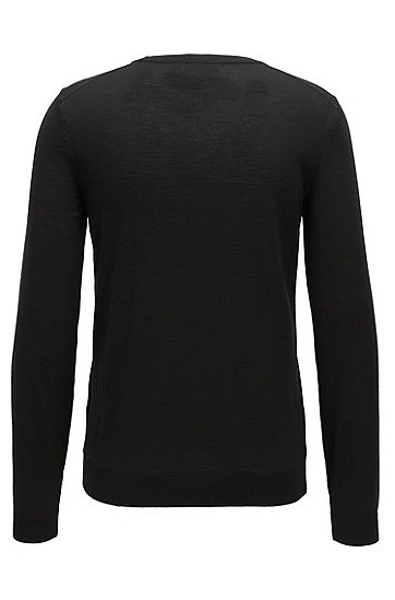 V字领羊毛毛衣,  001_黑色