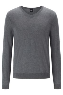 V-neck sweater in mulesing-free wool, Grey