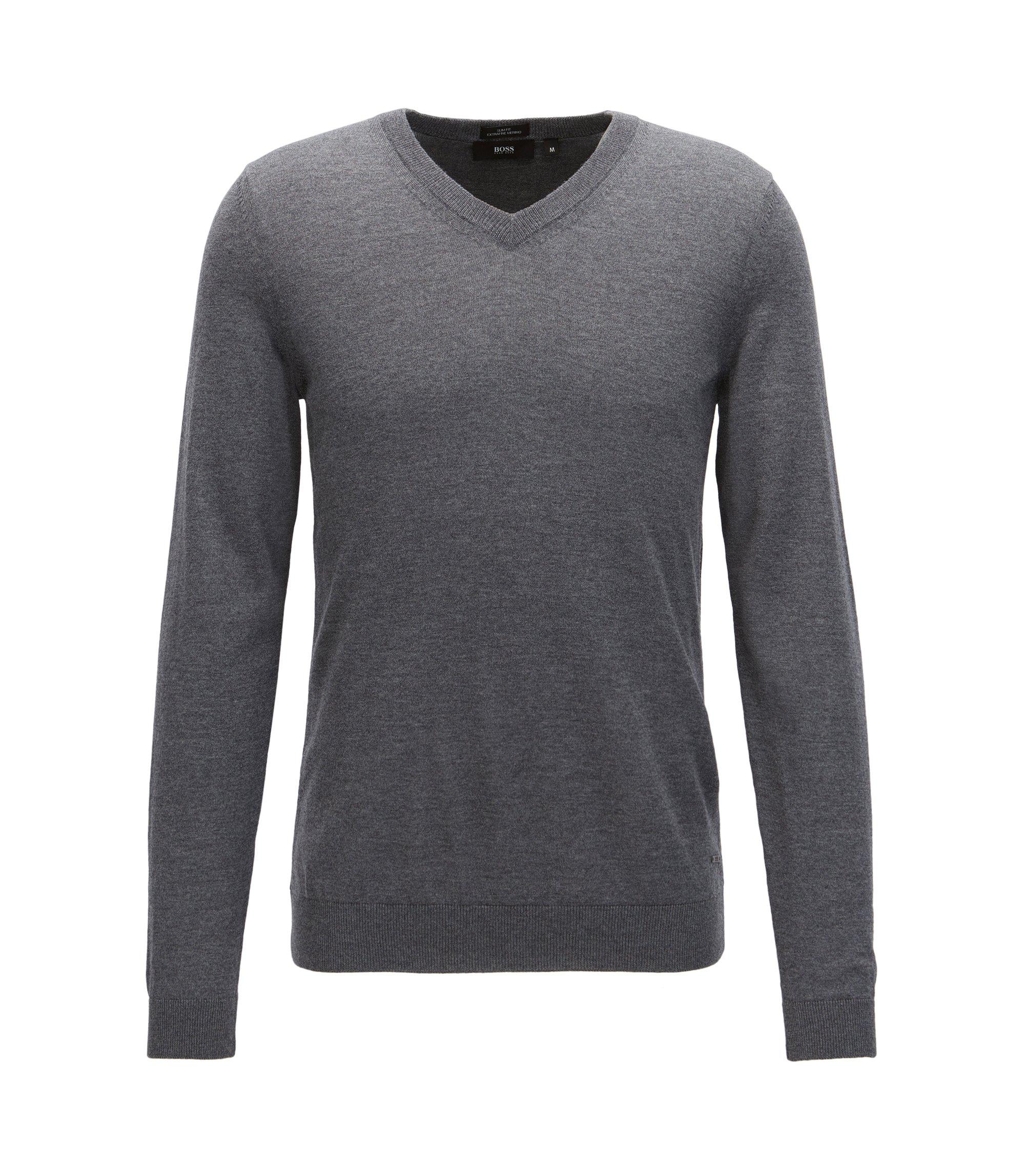 Pullover aus Schurwolle mit V-Ausschnitt, Grau