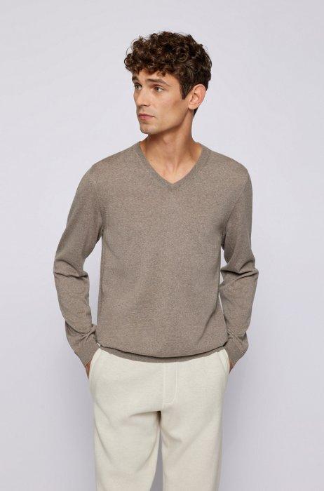 V-neck sweater in mulesing-free wool, Light Brown