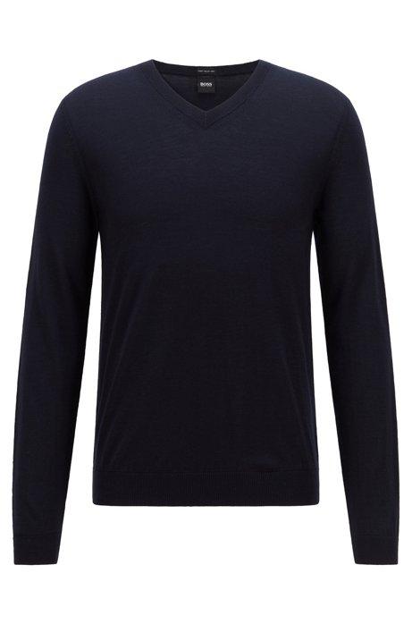 V-neck sweater in mulesing-free wool, Dark Blue