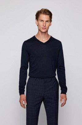 Pullover aus Schurwolle mit V-Ausschnitt, Dunkelblau