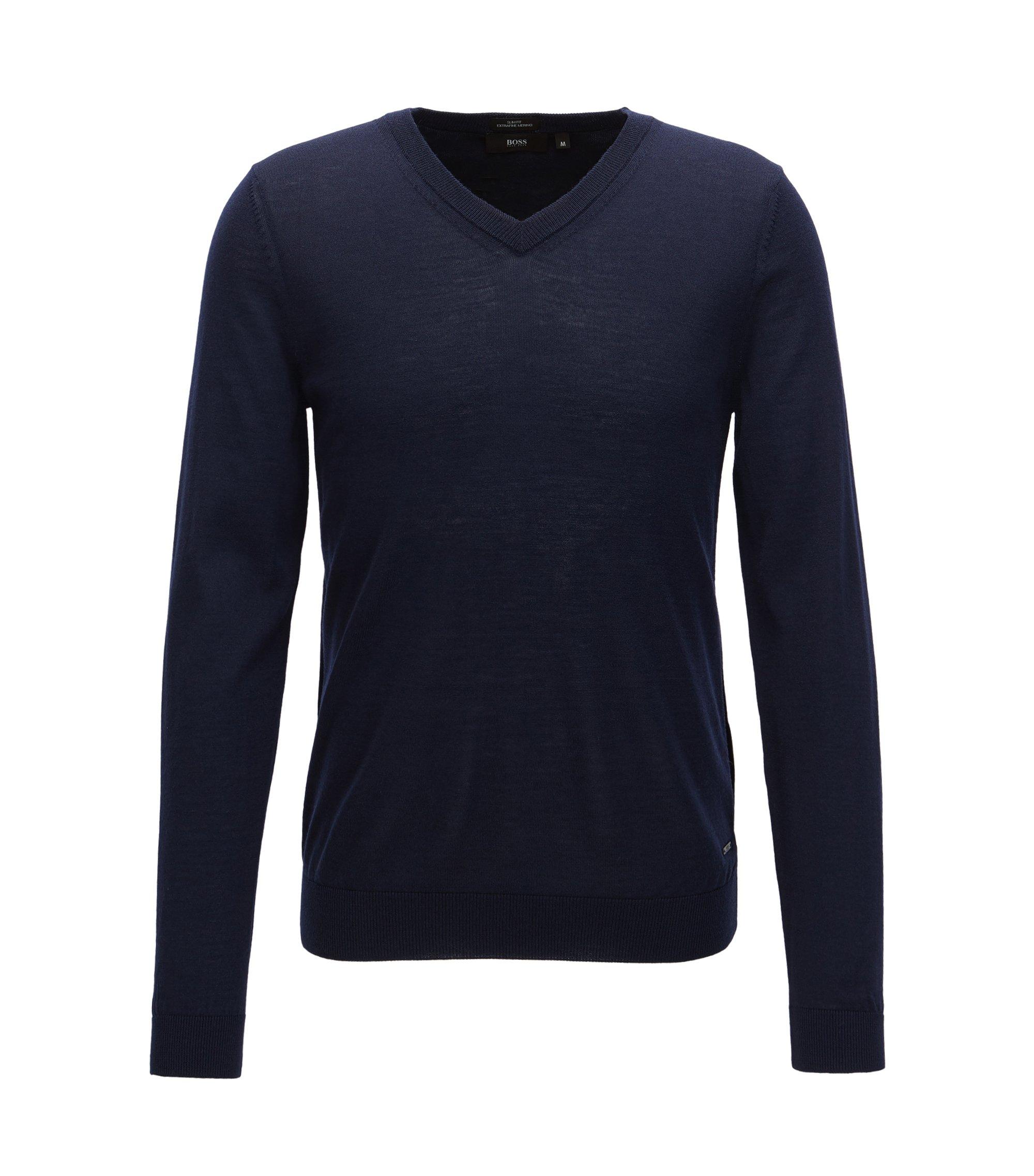 Pull à col V en laine produite sans pratiquer le mulesing, Bleu foncé