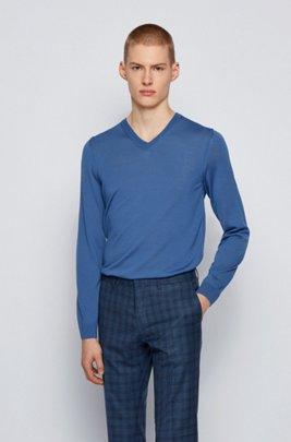 Pullover aus Schurwolle mit V-Ausschnitt, Blau
