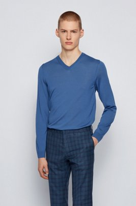 V-neck sweater in mulesing-free wool, Blue